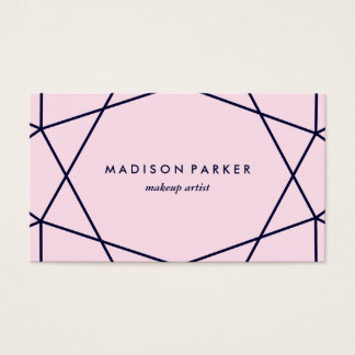 Modern Navy Blue Geometric on Blush Pink Business Card