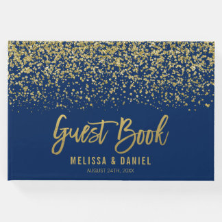 Modern Navy Blue Gold Faux Glitter Wedding Guest Book