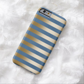 Modern Navy Blue Gold Stripes iPhone 6 Case