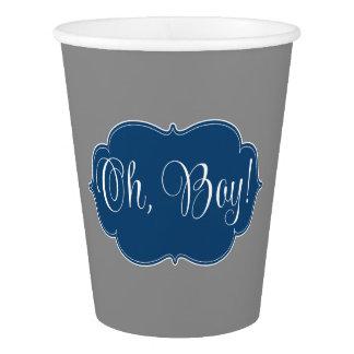 Modern Navy Blue Gray Boy Baby Shower