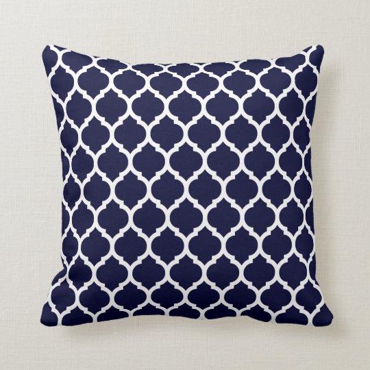 Modern Navy Blue Moroccan Geometric Cushion