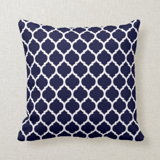 Modern Navy Blue Moroccan Geometric Cushion