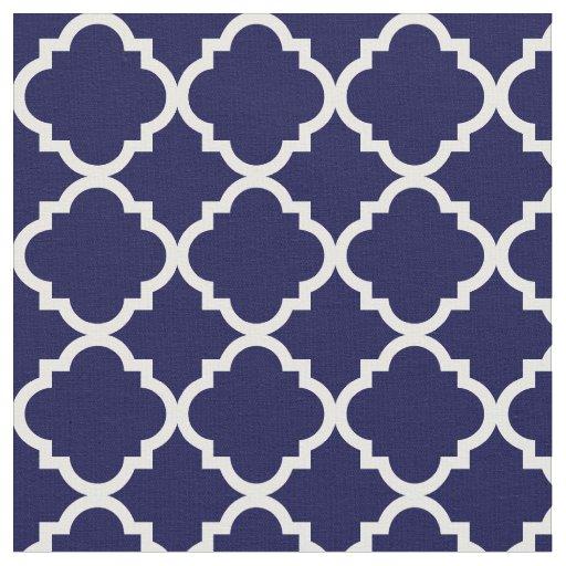 Modern Navy Blue Moroccan White Quatrefoil Fabric