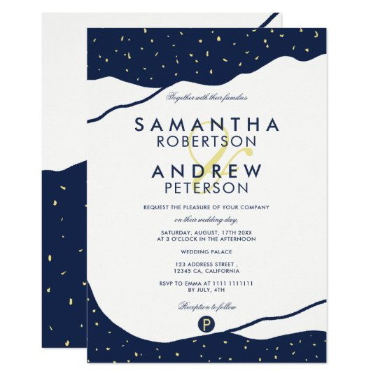 Modern navy blue mountains yellow dots wedding card