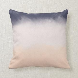 Modern Navy Blue Peach Watercolor Block Stripes Cushion