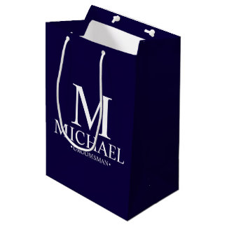 Modern Navy Blue Personalized Groomsman Medium Gift Bag