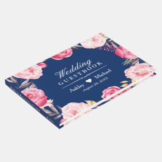 Modern Navy Blue Pink Floral Wreath Wedding Guest Book