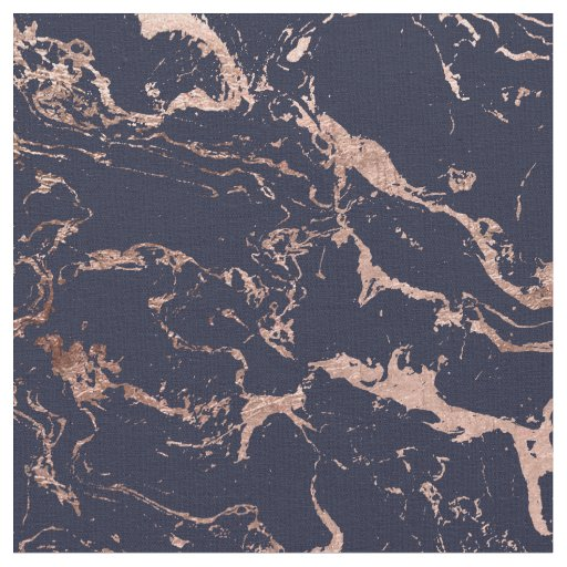 modern navy blue rose gold marble pattern fabric zazzle co uk