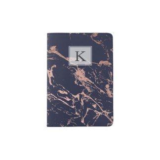 Modern navy blue rose gold marble pattern passport holder