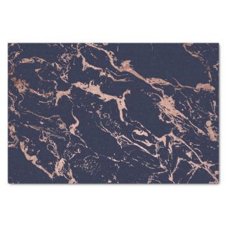 Modern navy blue rose gold marble pattern tissue paper