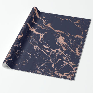 Modern navy blue rose gold marble pattern wrapping paper