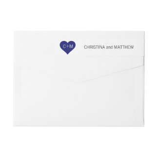 Modern Navy Blue White Heart Initials Wedding Wrap Around Label