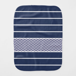 Modern Navy Blue White Stripes Chevron Pattern Burp Cloth