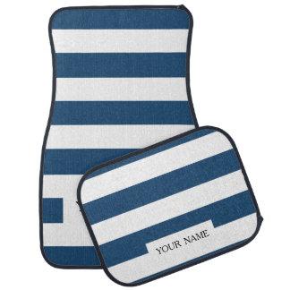 Modern Navy Blue White Stripes Pattern Car Mat