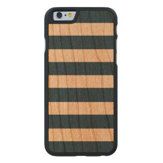 Modern Navy Blue White Stripes Pattern Carved® Cherry iPhone 6 Slim Case