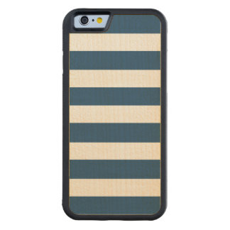 Modern Navy Blue White Stripes Pattern Carved® Maple iPhone 6 Bumper Case