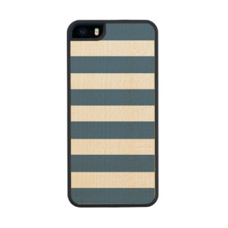 Modern Navy Blue White Stripes Pattern Carved® Maple iPhone 5 Case