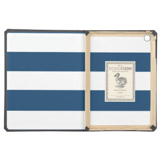 Modern Navy Blue White Stripes Pattern Cover For iPad Air