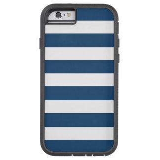 Modern Navy Blue White Stripes Pattern Tough Xtreme iPhone 6 Case