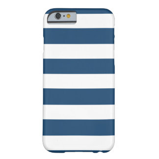 Modern Navy Blue White Stripes Pattern Barely There iPhone 6 Case