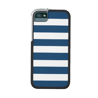 Modern Navy Blue White Stripes Pattern iPhone 5/5S Cases