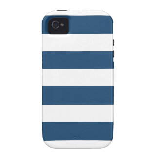 Modern Navy Blue White Stripes Pattern iPhone 4 Cover