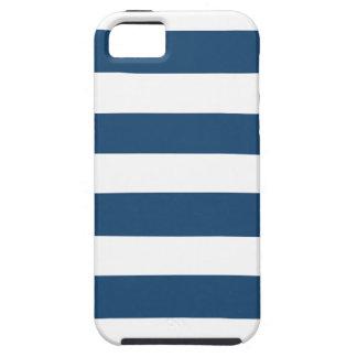 Modern Navy Blue White Stripes Pattern iPhone 5 Case