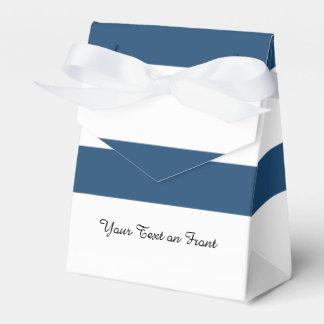 Modern Navy Blue White Stripes Pattern Favour Box