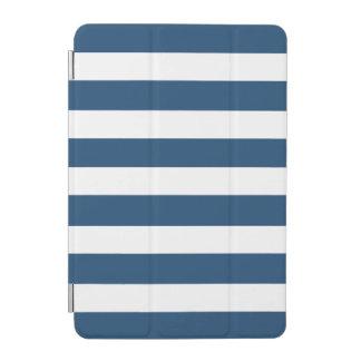 Modern Navy Blue White Stripes Pattern iPad Mini Cover