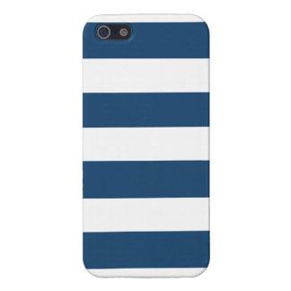 Modern Navy Blue White Stripes Pattern iPhone 5/5S Case
