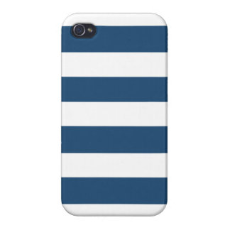 Modern Navy Blue White Stripes Pattern iPhone 4 Cases