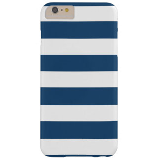 Modern Navy Blue White Stripes Pattern Barely There iPhone 6 Plus Case