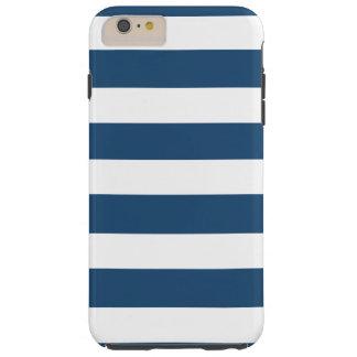 Modern Navy Blue White Stripes Pattern Tough iPhone 6 Plus Case