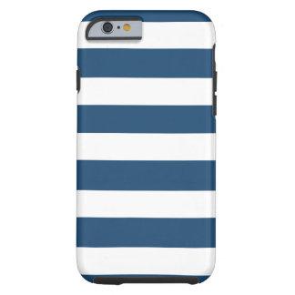Modern Navy Blue White Stripes Pattern Tough iPhone 6 Case