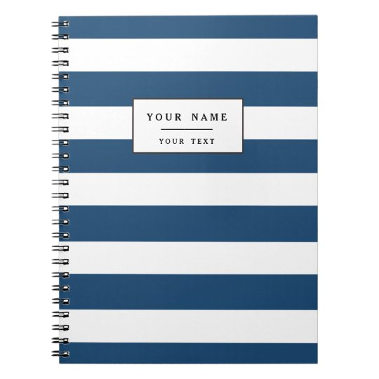Modern Navy Blue White Stripes Pattern Notebook