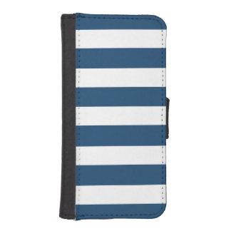 Modern Navy Blue White Stripes Pattern Phone Wallet Cases