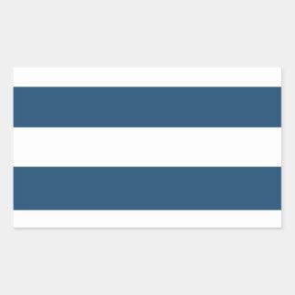 Modern Navy Blue White Stripes Pattern Rectangular Sticker