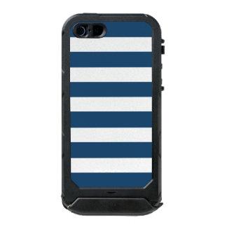 Modern Navy Blue White Stripes Pattern Incipio ATLAS ID™ iPhone 5 Case