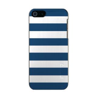 Modern Navy Blue White Stripes Pattern Incipio Feather® Shine iPhone 5 Case
