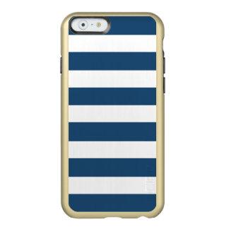 Modern Navy Blue White Stripes Pattern Incipio Feather® Shine iPhone 6 Case