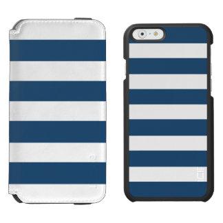 Modern Navy Blue White Stripes Pattern Incipio Watson™ iPhone 6 Wallet Case