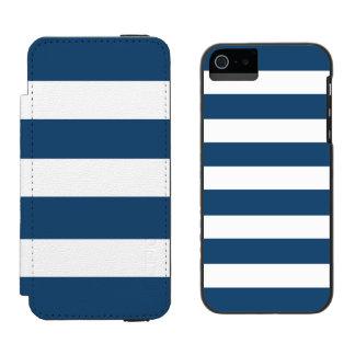 Modern Navy Blue White Stripes Pattern Incipio Watson™ iPhone 5 Wallet Case