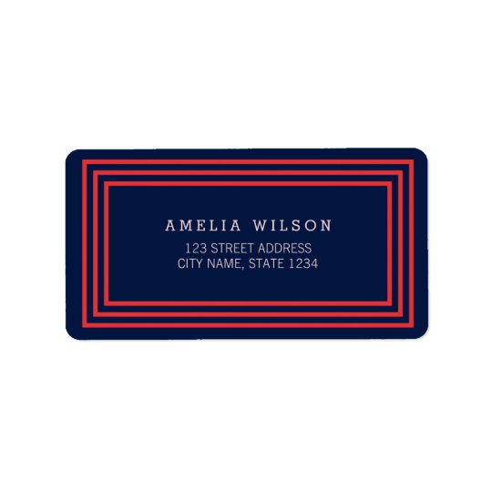 Modern Navy Blue with Salmon Pink Borders Address