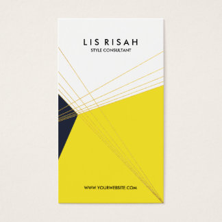 Modern Navy Blue Yellow Color-Block with Gold Foil Business Card