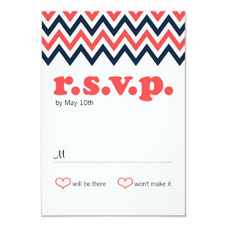 Modern Navy & Coral Chevron & Lovebirds RSVP Card