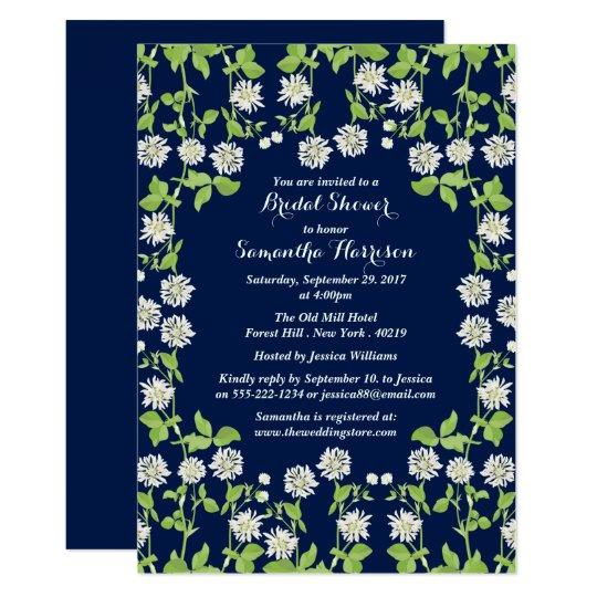 Modern Navy Floral Garden Bridal Shower Card
