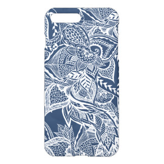 Modern navy peony white hand drawn floral watercol iPhone 8 plus/7 plus case