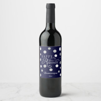 Modern, Navy Retirement Party with Glitter Wine Label