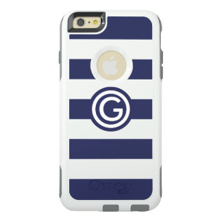 Modern Navy Stripe Monogram Clear iPhone Otterbox