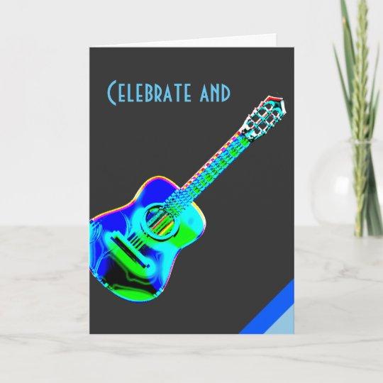 Modern Neon Colours Guitar Music Birthday Card